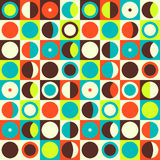 Geometric abstract seamless pattern. Retro 60s style and colors. Squares, circles composition Stock Illustration