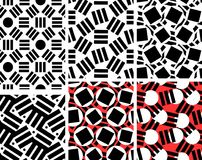 Geometric abstract seamless pattern set. Linear motif background. Collection. Monochrome decoration design royalty free illustration