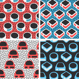 Geometric abstract seamless pattern set. Simple motif background. Collection. Colorful decoration design. Trendy style illustration Stock Photo