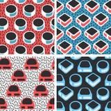 Geometric abstract seamless pattern set. Simple motif background Stock Photo