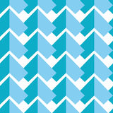 Geometric abstract seamless pattern with two  shades of blue elements symmetrical elements on white  background in mosaic tile sty Royalty Free Stock Photography