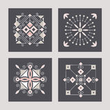 Geometric abstract square icons. Set of four logo templates. Ornamental  symbols. Graphic Design Collection Royalty Free Stock Photography