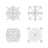 Geometric abstract square. Outline icons. Set of four logo templates. Ornamental  symbols. Graphic Design Collection Stock Photos