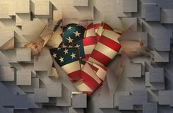 Geometric abstract. USA Flag winged heart royalty free stock images