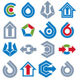 Geometric abstract vector blue and gray shapes. Collection of ar Royalty Free Stock Photo