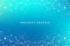 Geometric abstract vector with connected line and dots. Global network connection background. Technological sense. Abstract illustration Stock Photos