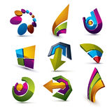Geometric abstract vector shapes. Collection of arrows, navigati Royalty Free Stock Images
