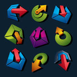 Geometric abstract vector shapes. Collection of arrows, navigati Stock Photos