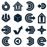 Geometric abstract vector shapes. Collection of black arrows, mo Royalty Free Stock Image