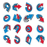 Geometric abstract vector shapes. Collection of red and blue arrows Royalty Free Stock Photo