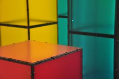 Geometric abstraction. Abstract exposition with half transparent cubes stock photos