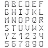 Geometric alphabet font gray number Royalty Free Stock Images