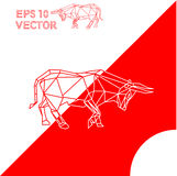 Geometric animal ox bull red white Royalty Free Stock Photos
