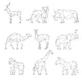 Geometric animals silhouettes stock illustration