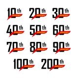 Geometric anniversary signs set, black numbers with yellow text on red ribbon or boomerang, birthday vector logos. Business celebration icons collection Stock Images
