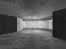 Geometric architecture background. Empty dark concrete room inte Royalty Free Stock Images