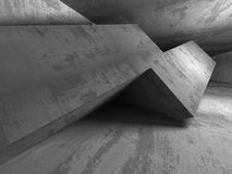 Geometric architecture background. Empty dark concrete room inte Stock Image