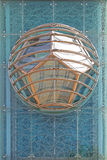 Geometric Architecture. Pentagon Polygon Shapes in Modern Globe at Blue Glass Building stock photography