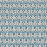Geometric artdeco line style seamless floral pattern. Abstract clover grey and blue elegant background Royalty Free Stock Image