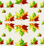 Geometric autumn leaves seamless pattern backgroun Royalty Free Stock Photography
