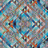 Geometric aztecs pattern. Seamless geometric abstract pattern in aztecs style on stripes background stock illustration