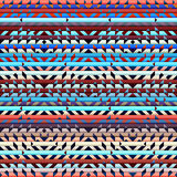 Geometric aztecs pattern. Seamless geometric abstract pattern in aztecs style on stripes background Royalty Free Stock Photography