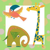 Geometric baby animals.jpg Royalty Free Stock Photo