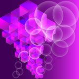 Abstract background with isometric cube, ball. Geometric background in abstract style with gradient.Ultraviolet background, with 3d primitives. Abstract Royalty Free Stock Images