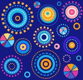 Geometric background, blue, colored circles, fireworks, seamless,  abstract. Blue, seamless, geometric background with colorful circles. Print Royalty Free Stock Photography