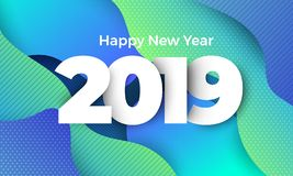 Happy New Year 2019. Geometric background btight color. Template design poster banner website.Greeting card with inscription Happy New Year 2019. Vector stock photography