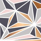 Geometric background with colorful triangles and golden elements, modern luxurious background. Vector illustration Stock Photos