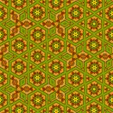 Ocher geometric background with continuous hexagonal elements stock photos