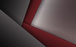 Geometric background with corrugated frames of gray and dark red hue with a metal grille. Geometric abstract background with corrugated frames of gray and dark Royalty Free Stock Image