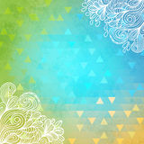 Geometric background with doodles and triangles. Royalty Free Stock Image