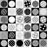 Geometric background with dotted and striped circles. On the squares Stock Image