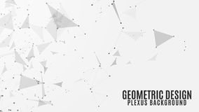 Geometric background of flying geometric particles on a white background. Dark connected triangular figures and atoms. Scientific. Background for your design Royalty Free Illustration