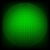 Geometric background in the form of a sphere drawn from dots of a green hue. Geometric abstract background in the form of a sphere drawn from dots of a green royalty free illustration