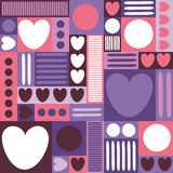 Geometric background with hearts, circles, stripes, squares. Different shades of lilac and purple color. The theme of love and Val Royalty Free Stock Photography
