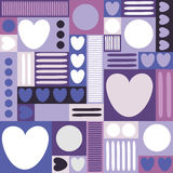 Geometric background with hearts, circles, stripes, squares. Different shades of lilac and purple color. The theme of love and Val stock illustration