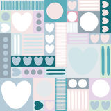 Geometric background with hearts, circles, stripes, squares. Different shades of pink and blue color. The theme of love and Valent Royalty Free Stock Photos