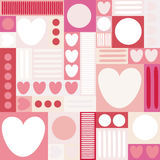 Geometric background with hearts, circles, stripes, squares. Different shades of pink color. The theme of love and Valentines day. Royalty Free Stock Image