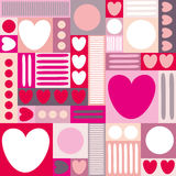 Geometric background with hearts, circles, stripes, squares. Different shades of pink color. The theme of love and Valentines day. Stock Photography