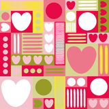 Geometric background with hearts, circles, stripes, squares. Different shades of pink. yellow and green color. The theme of love a Stock Photos
