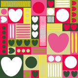 Geometric background with hearts, circles, stripes, squares. Different shades of pink. yellow and green color. The theme of love a Stock Image