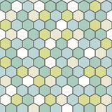 The geometric background made out of hexagons in various colors / The retro hexagon background royalty free illustration