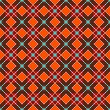 Geometric background made of squares, seamless, red-brown. Vector color geometric pattern of red squares and blue flowers on a brown background. For the royalty free illustration