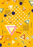 Geometric background memphis with lines, circles and traingles . Pattern background with lines, dots, circles memphis trendy art. Abstract poster, surface, card Royalty Free Illustration