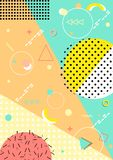 Geometric background memphis with lines, circles and triangle . Pattern background with lines, dots, circles memphis trendy art. Abstract poster, surface, card Stock Illustration