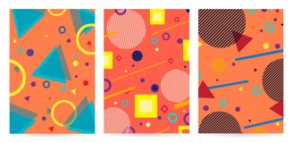Geometric background memphis with lines, circles and triangles . Pattern background with lines, dots, circles memphis trendy art. Abstract poster, surface, card Stock Illustration