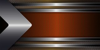 Geometric background with metal grille, arrow and frame of orange shade with shiny edging. Geometric abstract background with metal grille, arrow and frame of royalty free illustration